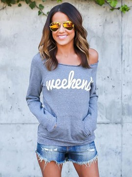 Ericdress Cold Shoulder Print Pullover Hoodie