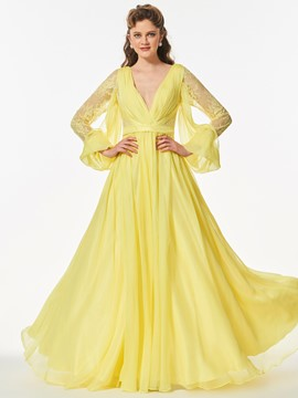 Ericdress A Line Deep V Neck Long Sleeve Long Prom Dress With Button Back