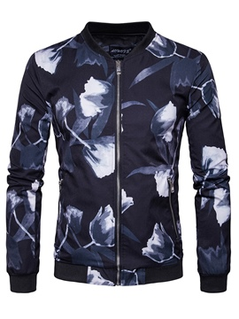 Ericdress Stand Collar Print Thin Casual Men's Jacket