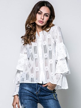 Ericdress Bell Sleeve Hollow Lace Blouse