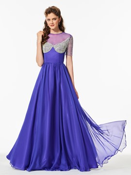 Ericdress A Line Short Sleeve Beaded Long Prom Dress