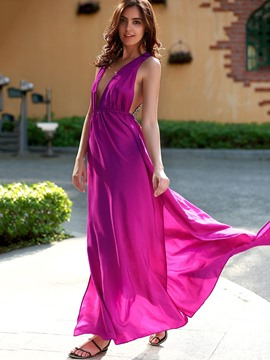Ericdress Chiffon Deep V-Neck Backless Flowy Maxi Dress