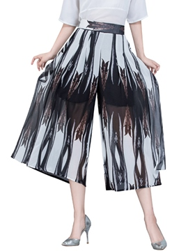 Ericdress Print Wide Legs Pants