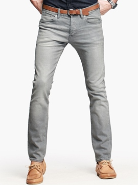Ericdress Regular Plain Mid-Waist Slim Men's Jeans