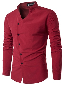 Ericdress Plain Stand Collar Slim Men's Shirt