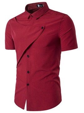 Ericdress Plain Unique Design Short Sleeve Men's Shirt