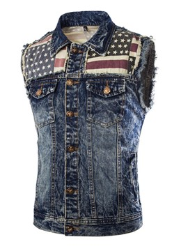Ericdress Patched Denim Casual Men's Vest