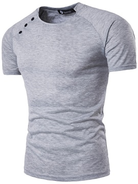 Ericdress Plain Button Patched Casual Men's T-Shirt