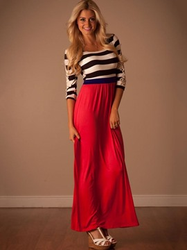 Ericdress Stripe Patchwork 3/4 Length Sleeves Maxi Dress