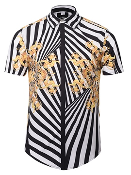Ericdress Stripe 3D Vintage Print Men's Shirt