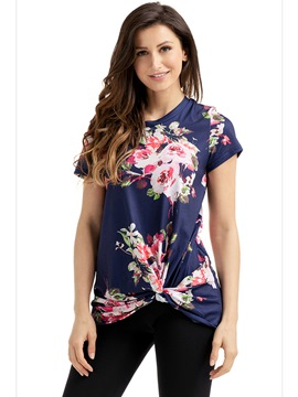 Ericdress Print Mid-Length Straight Floral T-shirt