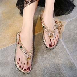 Ericdress Princess Rhinestone Thong Flat Sandals