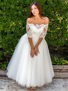 Ericdress Off The Shoulder Lace Half Sleeves A Line Wedding Dress