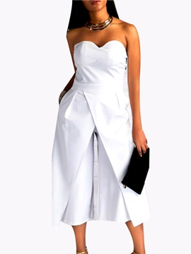 Ericdress Asymmetric Strapless Wide Legs Jumpsuits Pants