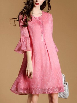 Ericdress Bell Sleeve Floral Print Round Neck Casual Dress