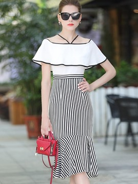 Ericdress Slash Neck Vertical Striped Ruffles Bodycon Dress