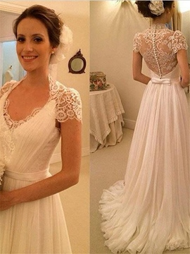 Floor-Length A-Line Short Sleeves Wedding Dress