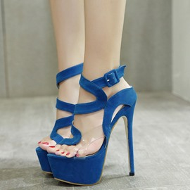 Ericdress Suede Platform Ultra High Stiletto Sandals