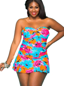 Ericdress Crisscross Lace-Up Floral Pleated Plus Size Swimwear