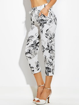 Mid-Calf Flower Print Straight Women's Pants