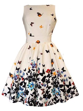 Ericdress Vintage Floral Pastoral Print Pleated-Detail A Line Dress
