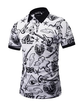 Ericdress Guitar Pattern Casual Print Short Sleeve Men's T-Shirt