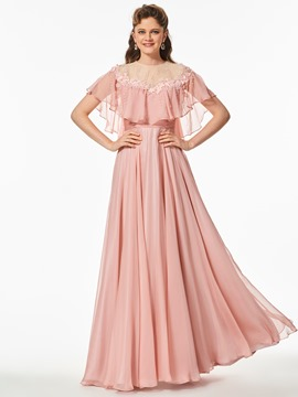Ericdress A Line Cape Sleeve Applique Beaded Long Prom Dress