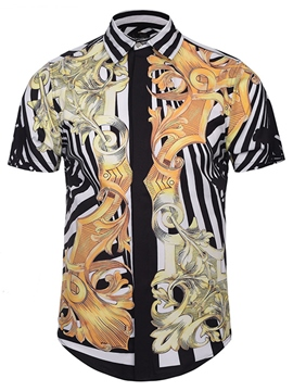 Ericdress Unique Vintage Pattern Print Men's Shirt