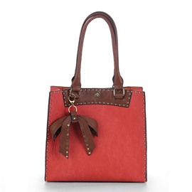 Ericdress Simple Bowtie Pendant PU Tote Bag