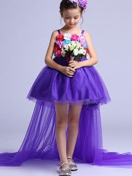 Ericdress Elegant Mesh Floor-Length Appliques Princess Girl's Dress