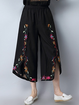 Ericdress Elastics Embroidery Wide Legs Pants