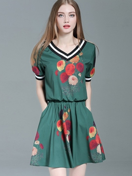Ericdress V-Neck Half Sleeves Print Women Suits
