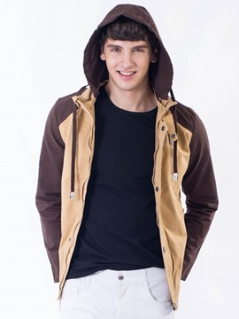 Ericdress Color Block Zip Hood Casual Men's Jacket