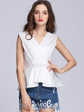 Ericdress Plain Sleeveless Falbala V-Neck Slim Blouse