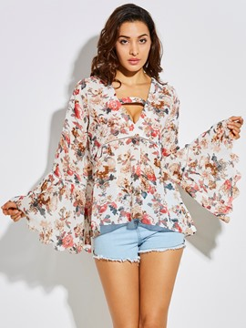 Ericdress Loose Flower Print Bell Sleeve Women's Blouse