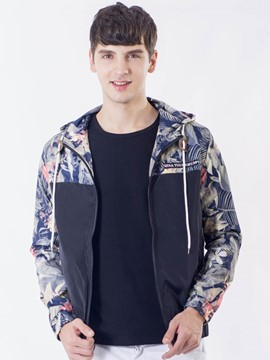 Ericdress Zip Hood Print Casual Men's Jacket