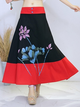 Ericdress Ankle-Length Patchwork Print Usual Skirts
