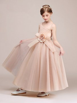 Ericdress Straps A Line Floor Length Flower Girl Party Dress