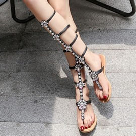 Ericdress Roman Rhinestone Clip Toe Knee High Flat Sandals