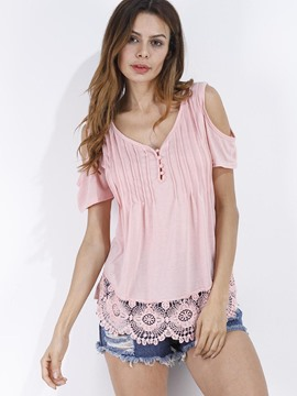 Ericdress Patchwork Lace Cold Shoulder V-Neck T-shirt