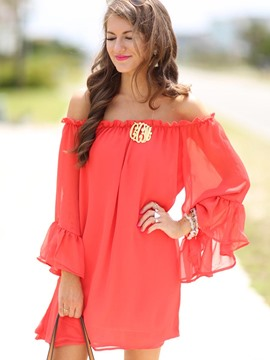 Ericdress Chiffon Slash Neck See-Through Casual Dress