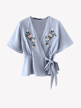 Ericdress Lace-Up V-Neck Embroidery Floral Blouse
