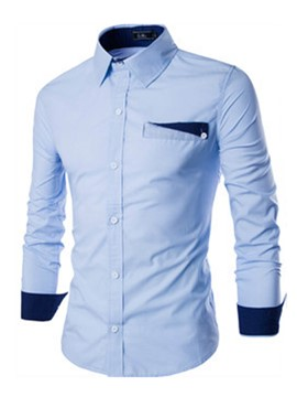 Ericdress Long Sleeve Color Block Pocket Patched Men's Shirt