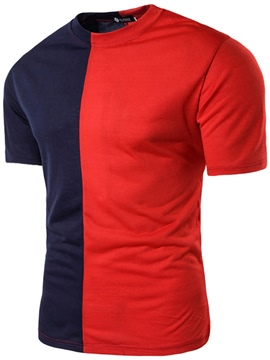 Ericdress Color Block Short Sleeve Crew Neck Men's T-Shirt