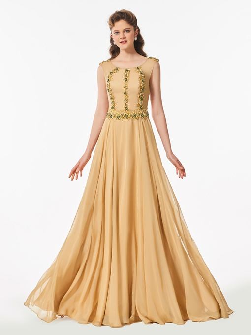 Ericdress A Line Scoop Neck Beaded Long Prom Dress With Button Back