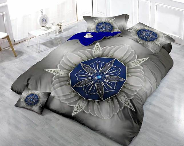 3D Blue Flowers Printed Luxury Cotton 4-Piece Bedding Sets/Duvet Cover