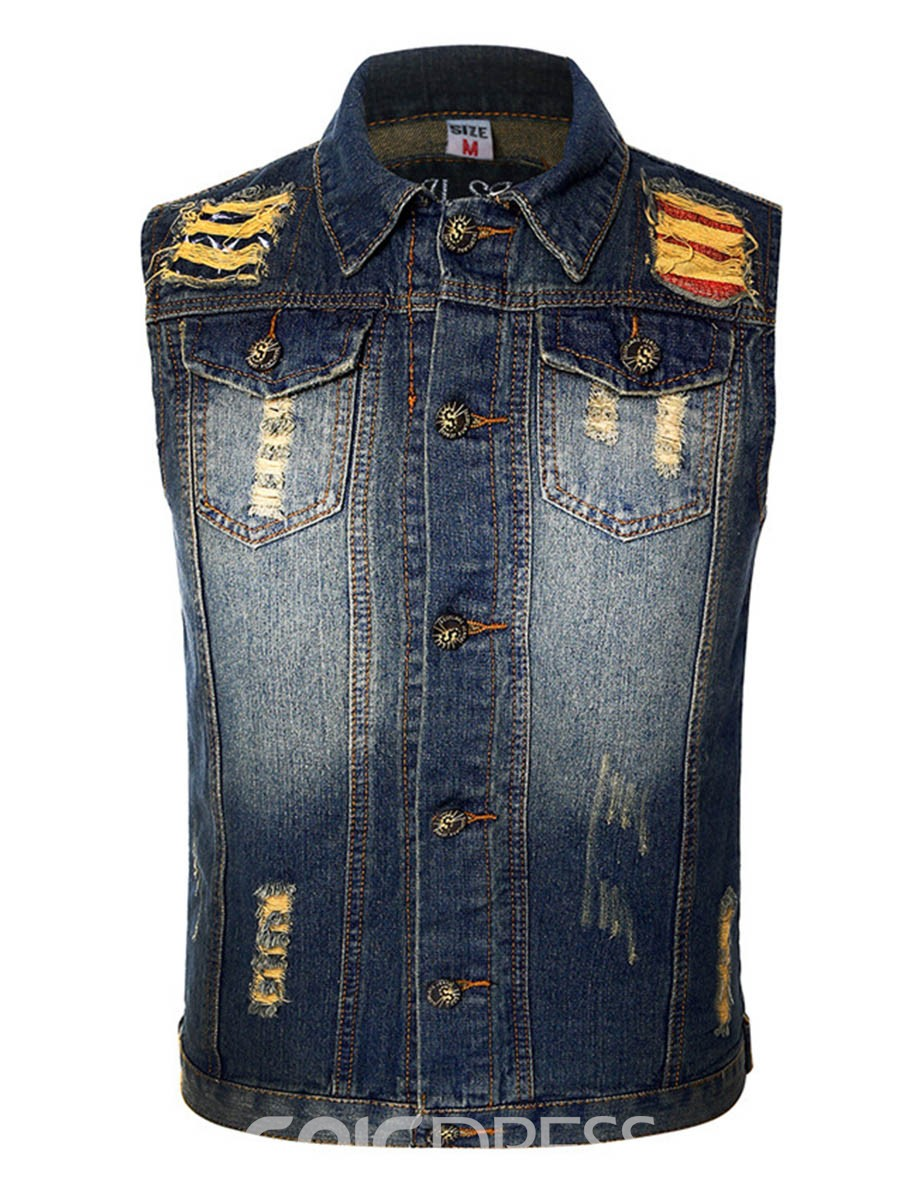 Ericdress Holes Denim Single-breasted Casual Mens Vest