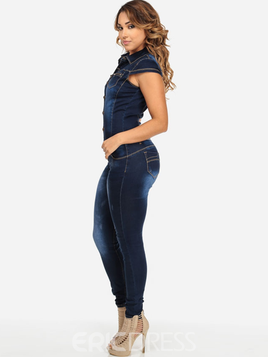 Ericdress Pocket Denim Autumn Jumpsuits Pants