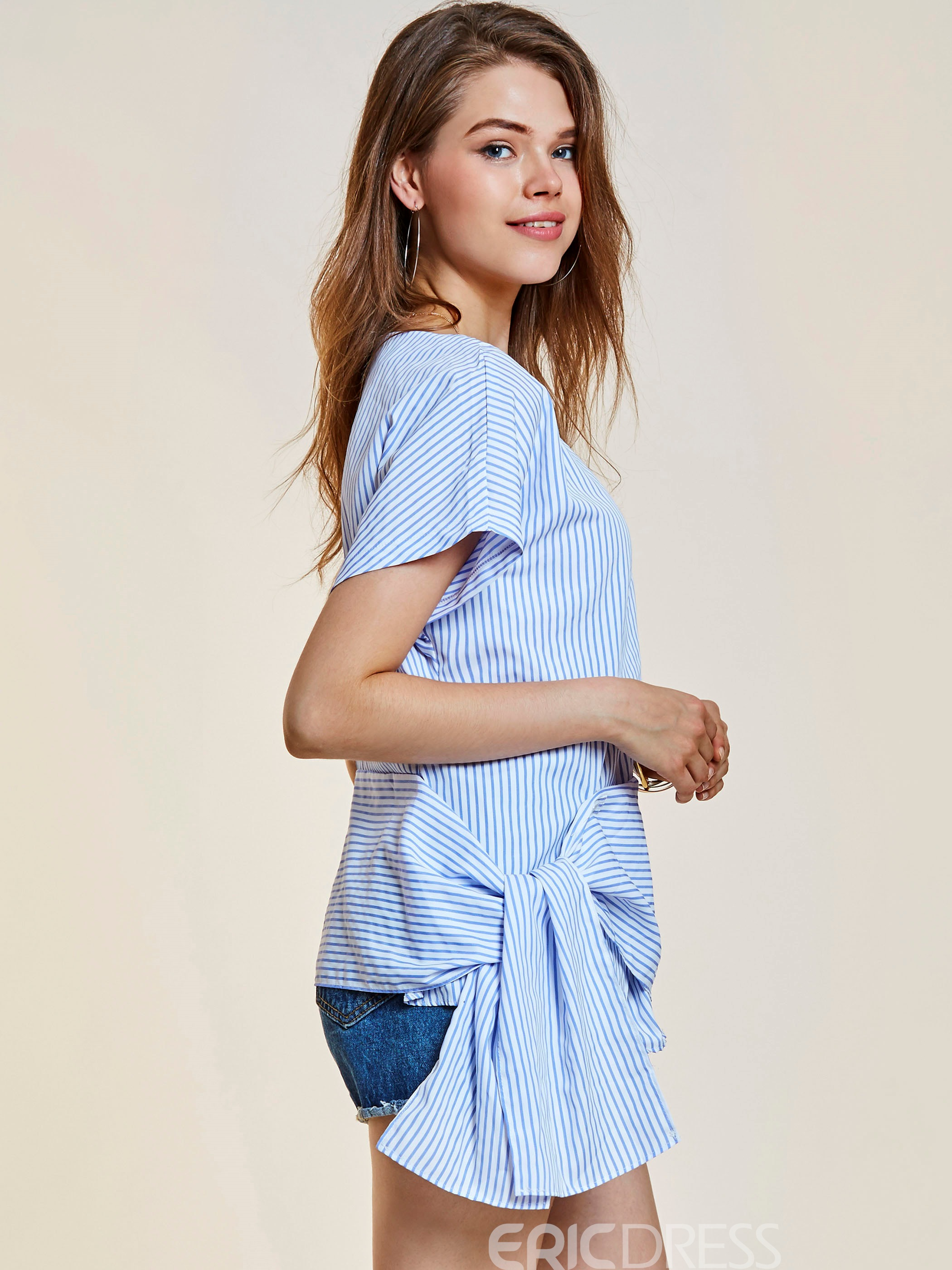 Ericdress Stripe Silm Lace-Up Asymmetric Blouse