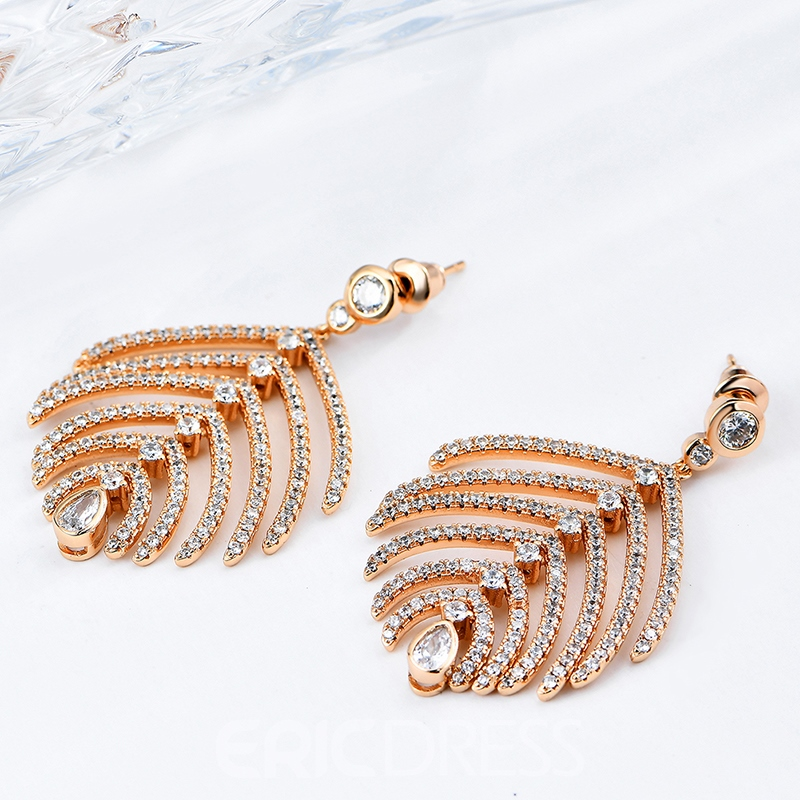 Ericdress Elegant Rose Gold Diamante Leaf-Shaped Earring